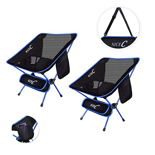 NiceC Ultralight Portable Folding Camping Backpacking Chair Compact & Heavy Duty Outdoor, Camping, BBQ, Beach, Travel, Picnic, Festival with 2 Storage Bags&Carry Bag (2 Pack of Blue) ()