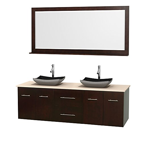 Wyndham Collection Centra 72 inch Double Bathroom Vanity in Espresso, Ivory Marble Countertop, Altair Black Granite Sinks, and 70 inch Mirror
