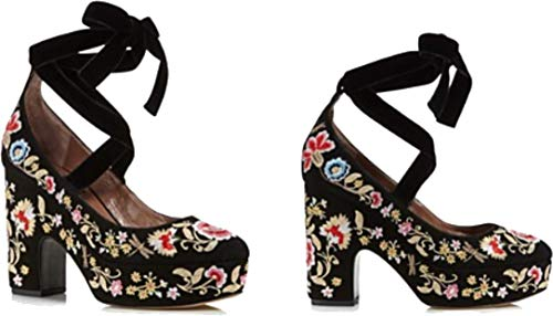 Used, Tabitha Simmons Sky Flora Embroidered Suede Wedge Sandal, for sale  Delivered anywhere in USA