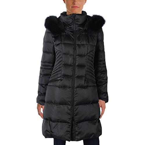 1 Madison Womens Luxe Satin Long Coat Black - Satin Down Coat