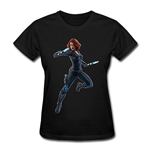 WXMY Women's Black Widow Scarlett Johansson T-shirt - S Black