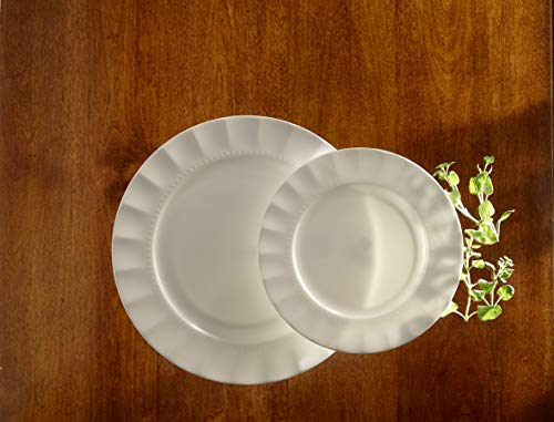16-piece Fine Bone China Dinnerware Set by Roscher | Service for Four (4), Ivory Symphony Design, Includes Dinner Plates, Salad Plates, Bowls, and Cups