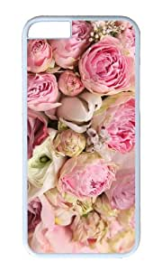 Pink flowers beautiful rose romance PC White Hard Case for Apple iPhone 6(4.7 inch)