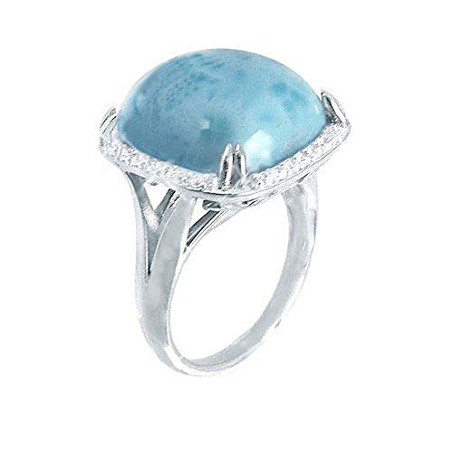 BillyTheTree Gemstone Jewelry Sterling Silver Ring with Square Cushion Larimar and Round White CZ BTS-NRB6774 LR CZWH R
