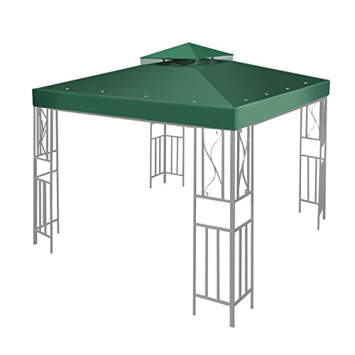 Flexzion 10'x10' Gazebo Replacement Canopy Top Cover (Green) - Dual Tier with Plain Edge Polyester UV30 Water Resistant for Outdoor Garden Patio Pavilion Sun Shade