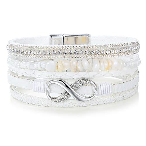 Eivanc White Stone Multi-Layer Leather Bracelet -Wrap Bracelet Boho Braided Cuff Bangle Crystal Bead Bracelet Rhinestone Handmade Magnetic Clasp Bracelet for Women