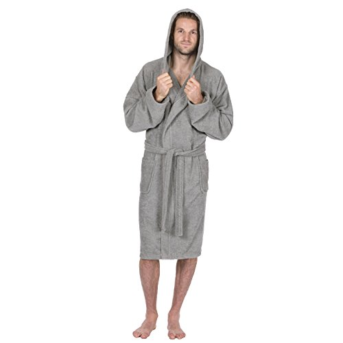 Pierre Roche Mens 100% Cotton Terry Towelling Hooded Robe/Dressing Gown (Large, Grey)