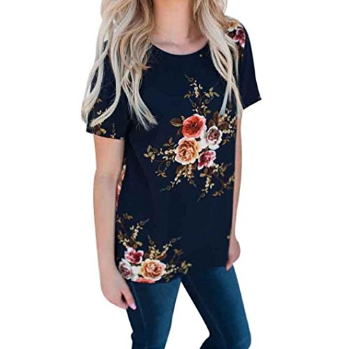 (TOPUNDER Floral Plus Size T Shirt for Women Loose Short Sleeve Tops Boatneck Blouse Party)