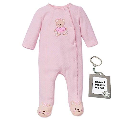 Little Me Sweet Bear Footie Pajamas Footed Sleeper and Keychain Pink Newborn ()