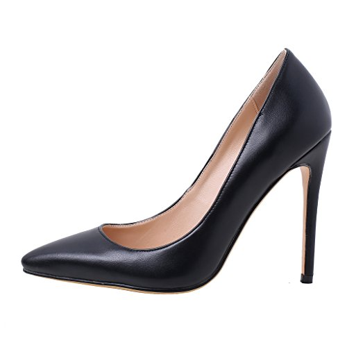 Calaier Womens Cawait Designer Party Abito Da Sposa Di Lusso Plus Size Comfortale Tacco Alto Donna Scarpe A Punta 10,5 Cm Stiletto Slip On Pumps Shoes Nero