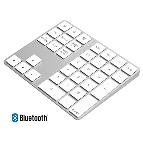 - Cateck Bluetooth Numeric Keypad, Aluminum Wireless bluetooth 34-key number pad with Multiple Shortcuts for Computer Laptop Windows Surface Pro Apple iMac Macbook iPad Android Tablet Smartphone- Silver