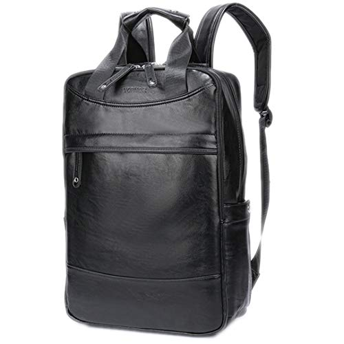 Capacity Leather Travel Backpack Business Office School Backpack Bags Black