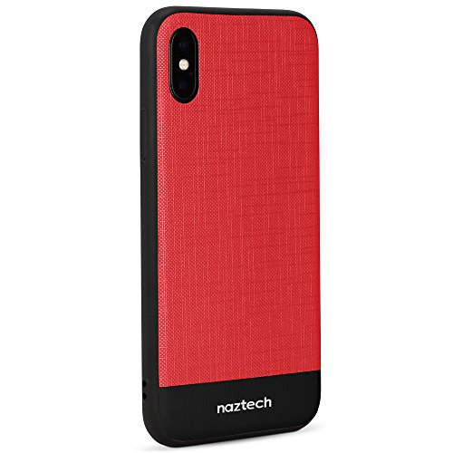 (Naztech Ultra-Thin Hybrid PC + TPU Case Compatible for iPhone X [Supports Wireless Charging] Case Blends a Hard Shell and A Soft, Shock & Impact-absorbing Layer For Superior Protection (Red/Black))