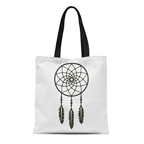 Semtomn Canvas Tote Bag Dreamcatcher Dream Catcher Feather Amulet Aztec Bead Bird Culture Durable Reusable Shopping Shoulder Grocery Bag ()