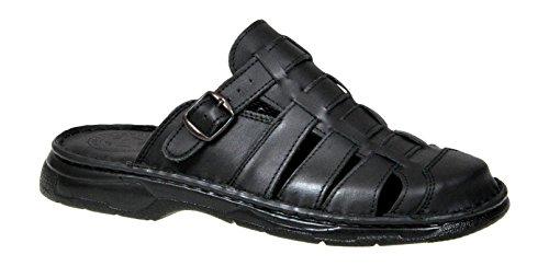 Lukpol Mens Orthopedic Form Buffalo Leather Sandals Model-860 Black
