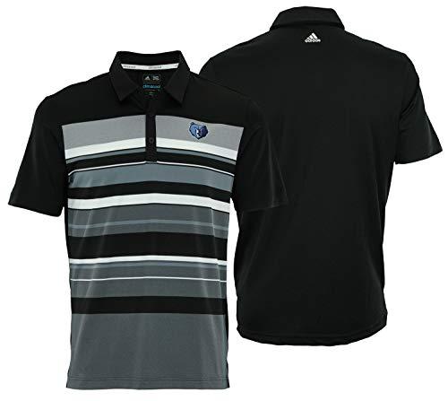 adidas NBA Men's Memphis Grizzlies Performance Stripe Polo, Black Large
