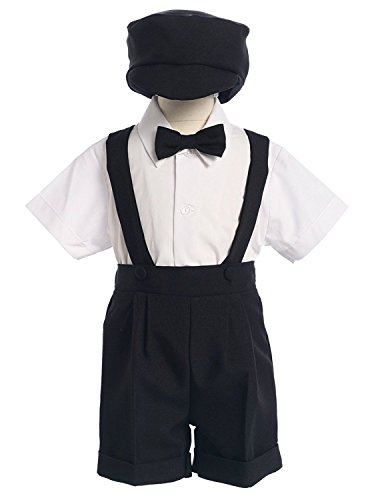Black Special Occasion Suspenders and Short Set with Hat - S (3-6 Month) -