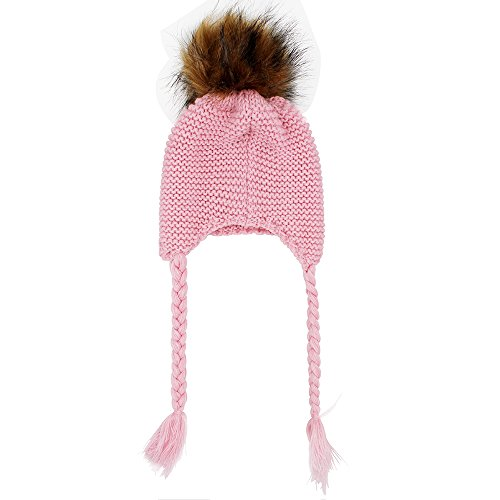 29a5f842eb6 Galleon - Genenic Ages 2-8 Baby Hat Children Winter Hats For Girls Boy  Cotton Thick Warm Knitted Ears Beanie Fox Fur Pompom Cap (Pink)