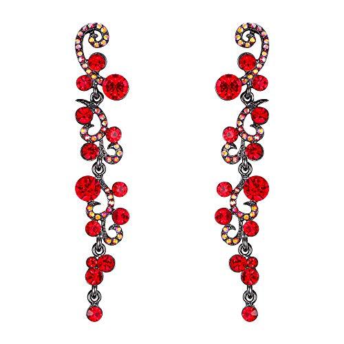 EVER FAITH Women's Crystal Elegant Banquet Flower Vine Wave Dangle Earrings Red Black-Tone ()