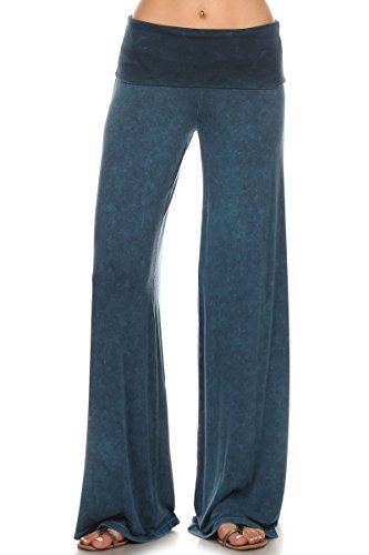 HEYHUN Womens Tie Dye Solid Wide Leg Bottom Boho Hippie Lounge Palazzo Pants - Cyan - - Tie Jersey Maternity