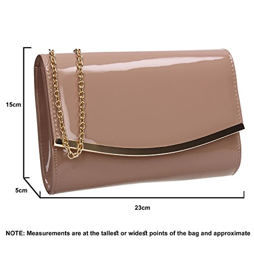 Leather SWANKYSWANS Patent Prom Ladies Beige Bag Womens Lilo Clutch Flapover Party Faux qqOpTS