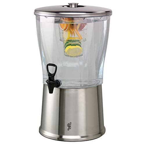 Service Ideas CBDRT5SS Beverage Dispenser, BPA Free, Stainless Steel, Round, 5 - Food Service Beverage Dispenser
