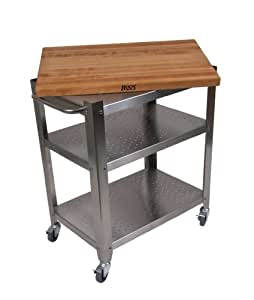 John Boos Stainless Steel Cart with 30 by 20-Inch Removable Maple Top, Stainless Steel Shelves and Casters