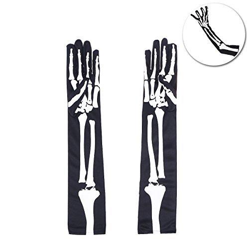 Tinksky Halloween Skeleton Gloves Long Arm Full Finger Gloves Costume Cosplay Party Halloween Costumes 1 (Skeleton Costume Pattern)