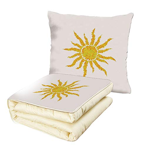 iPrint Quilt Dual-Use Pillow Sun Artsy Grunge Star Drawing Circle and Stripes Abstract Center of Solar System Decorative Multifunctional Air-Conditioning Quilt Marigold Pale Green by iPrint