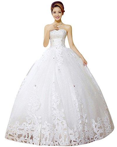 Beauty-Emily Tul cuentas de encaje cariño escote bola vestidos de boda Blanco