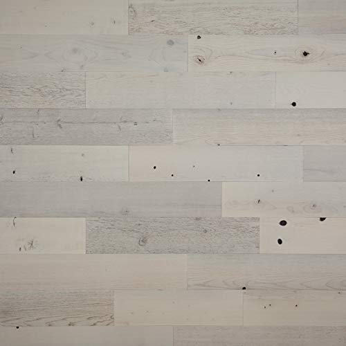 """Timberchic DIY Reclaimed Wooden Wall Planks - Simple Peel and Stick Application. (5"""" Wide - 20 Sq. Ft, Coastal White)"""