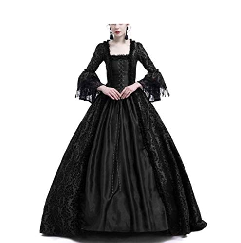 LY-VV Womens Gothic Victorian Lolita Dress Square Collar Velvet Halloween Witch Dress (L, 2 -