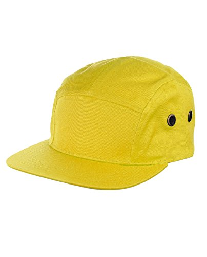 NYfashion101 Five Panel Solid Color Unisex Adjustable Army Military Cadet Cap, Yellow