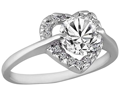 AJZYX Heart Shape Rings for Women Ladies Wedding Engagement Promise Ring 10KT Gold Filled Sterling Silver Plated Size 9