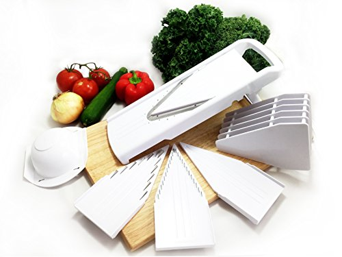 Dynamic Chef Mandoline Slicer, 5 V blades, Fruit and Vegetable Cutting Tool, Adjustable Chopping Utensil, INCLUDED How-To Video