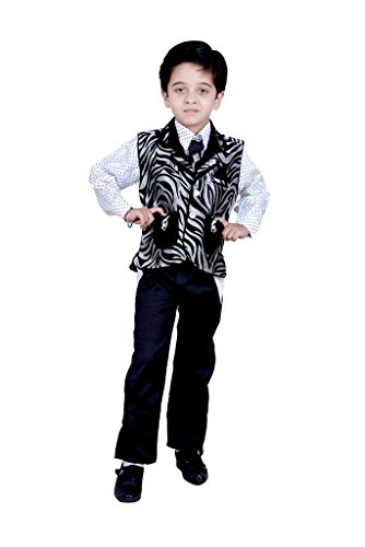 Boys Dress Shirt Pant Waistcoat & Tie Kids Wear by Arshia Fashions - -2-7 Years - Full Sleeves - Party Wear - Black