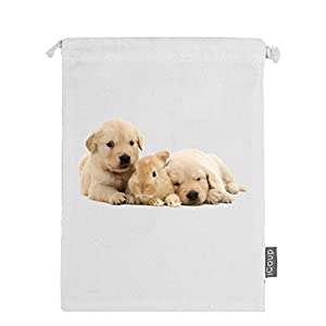Abbmdd Rabbit and dogs Drawstring Beam Port Storage Bag Sanitary Napkin Storage Bag Gift Bag