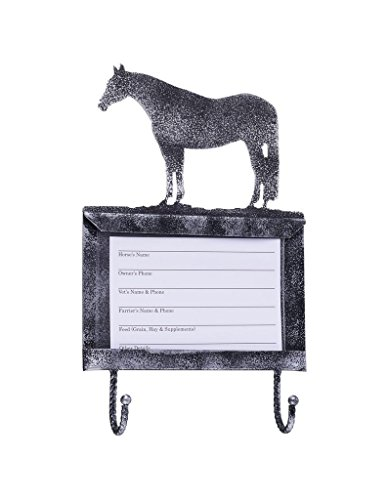 Tough-1 Deluxe Stall Card Holder with Hooks - Black/Silver - Quarter Horse by Tough-1