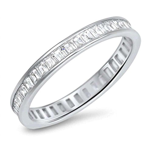 Blue Apple Co. 3mm Full Eternity Simulated Baguette Cubic Zirconia Band 925 Sterling ()