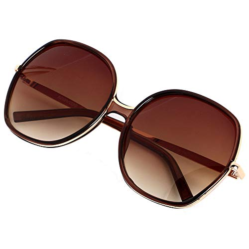 ANDWOOD Oversized Sunglasses Big Large Women Square Wide Black Brown Retro Trendy Pink (Oversized Square Sunglasses)