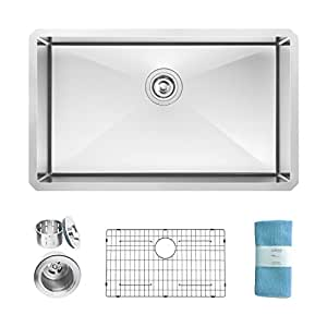 ZUHNE Modena 32 Inch Undermount Single Bowl 16 Gauge Stainless Steel Kitchen Sink for 36 Inch Cabinet