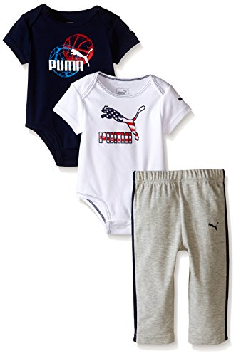 PUMA Baby-Boys 3 Piece Bodysuit and Pant Set