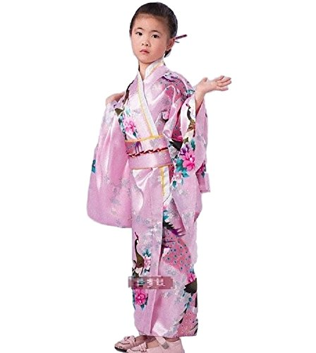 SSJ Kimono Robe [ Flower Design for Kids ] Japanese Traditional Costume (47.2inch, Pink)