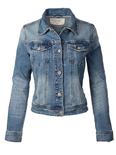 Instar Mode Women's Classic Casual Vintage Denim Jean Jacket, Idjw004 Medium Denim, Small