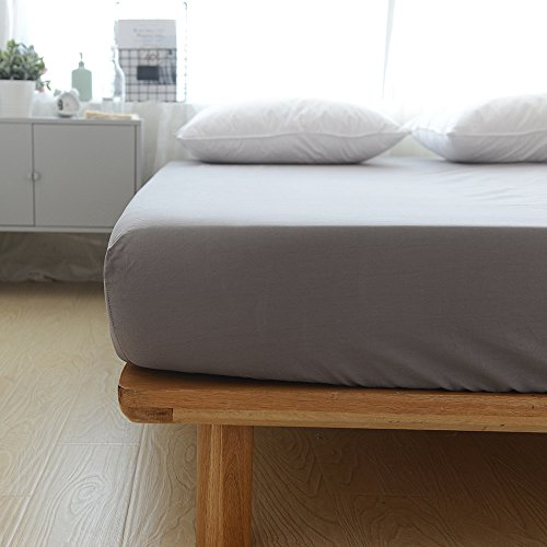 BuLuTu Cotton Premium Deep Pocket Solid Fitted Bed Sheet Queen  Grey Breathable, Durable Comfortable