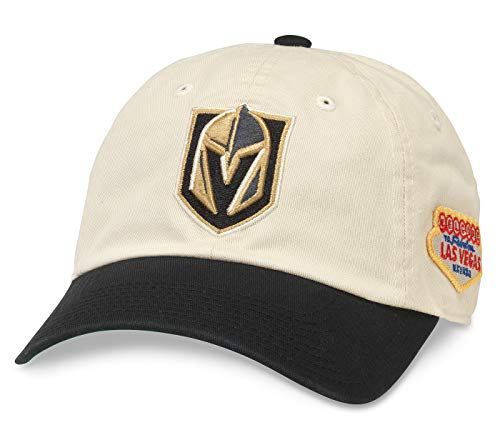 (American Needle Vegas Golden Knights United Slouch Ivory/Black Adjustable Strapback Hat)