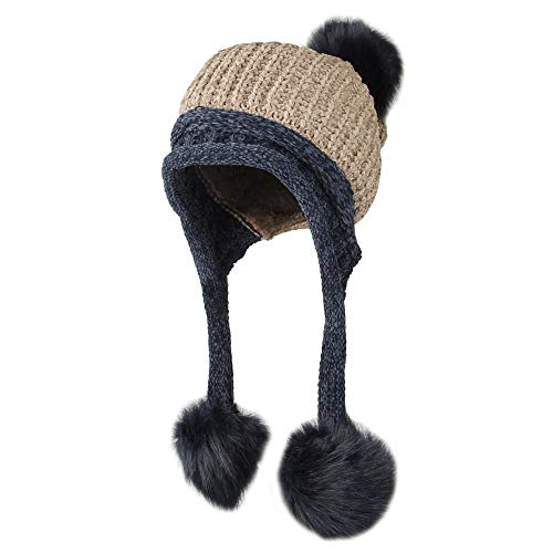 WITHMOONS Fleece Lining Thick Cable Knit Beanie Hat Pom Earflaps DZ70029 (Brown)