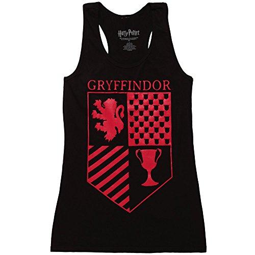 Harry Potter Gryffindor Crest Juniors Racerback Tank Top - Black (Medium) (Harry Styles Top Tank)