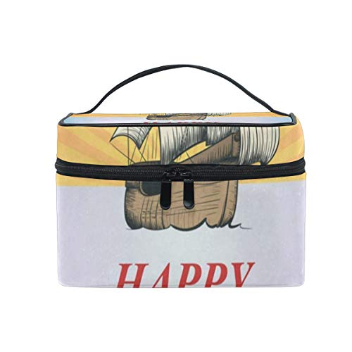 Media Disney Storage (All agree Cosmetic Bag Happy Columbus Day Womens Makeup Organizer Girls Toiletry Case Box Lazy Zip Bag)
