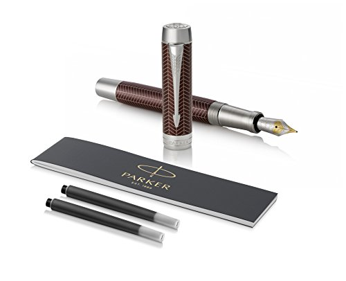 PARKER Duofold Centennial Fountain Pen, Prestige Burgundy Chevron, Medium Solid Gold Nib, Black Ink and Convertor (1945417) by Parker